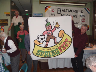 Kickers Springfest Banner being displayed at their clubhouse