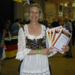 Fraulein with menu at Zion Church's Kitchen at MD German Festival