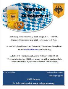 2016 Maryland Oktoberfest Info